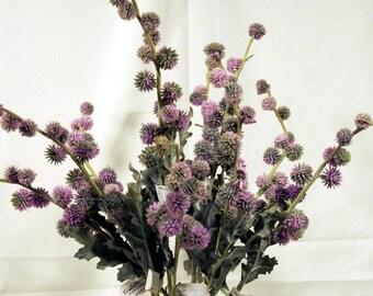 Silk Flowers Green/Purple Thistle Floral Supplies 10 Stems