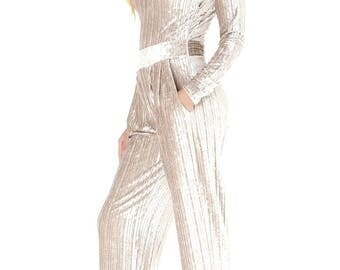 Jumpsuit V Neck Long Sleeves Pockets Waistband Pleated Beige Velvet