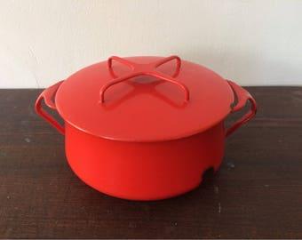 Vintage Poppy Red Dansk Kobenstyle 2-Quart Casserole Pot