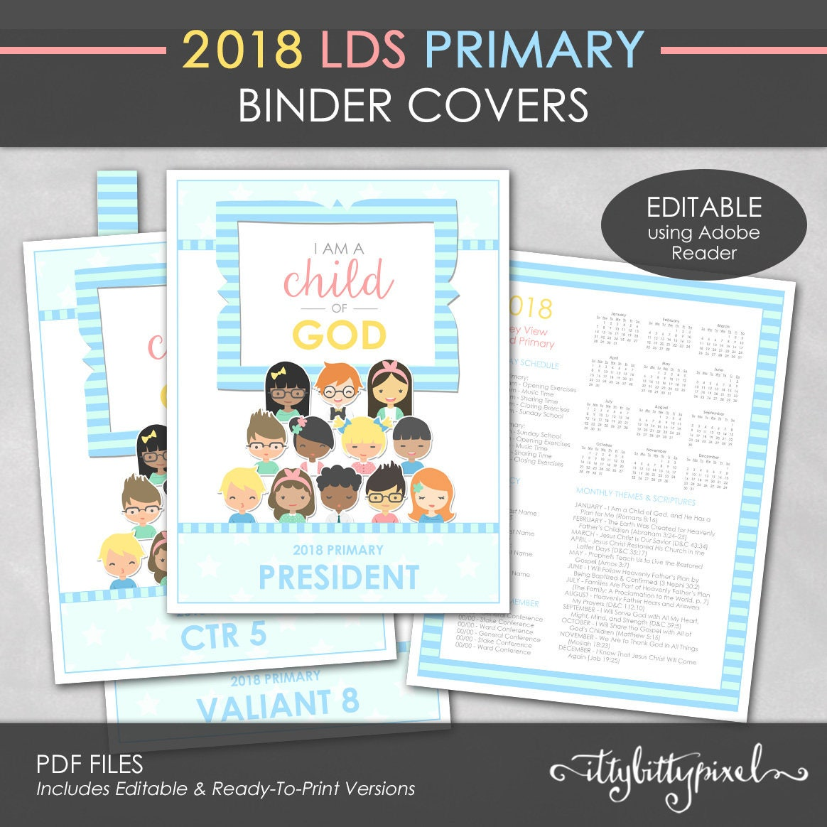 LDS 2018 Primary Binder Cover I Am a Child of God Theme