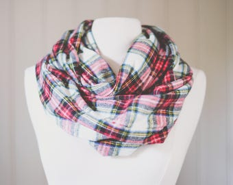 Plaid Infinity Scarf | Plaid | Double Wrap | Handmade | Christmas | Red | Green | Black |Yellow | White |  | Circle Scarf