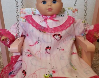 Bitty Baby Flannel Nightgown, Also fits any 14-16 inch doll.