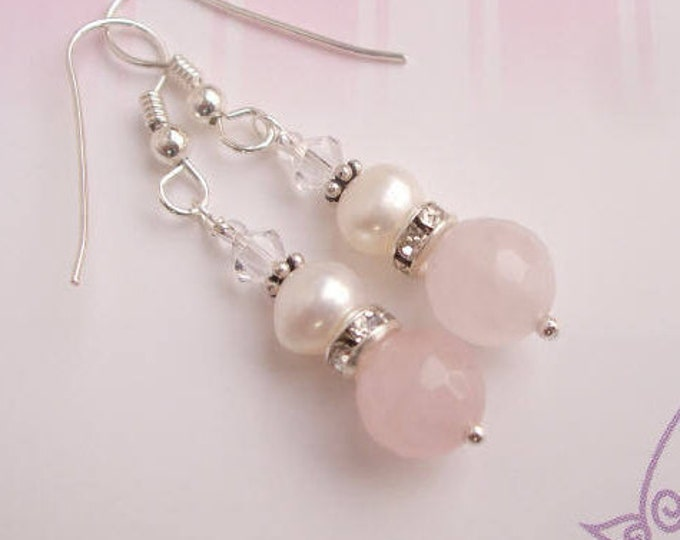 Sterling Silver Rose Quartz earrings  and Freshwater Pearl - January Birthstone jewellery gift for her