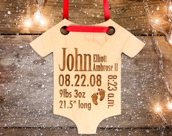Baby christmas etsy personalized baby christmas ornament babys first christmas ornament and gift birth stats ornament negle Images
