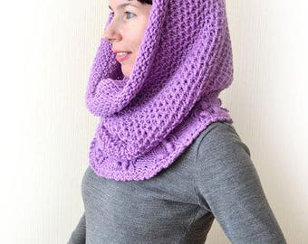 cowl scarf coworker gift infinity scarf violet scarf girlfriend gift chunky knit scarf gift for mom lilac scarf knit cowl hooded scarf