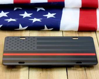 "Firefighter Thin red line American Flag License Plate Matte Black on 1/8"" black Aluminum Composite Heavy Duty Tactical Patriot USA Car Tag"