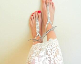 Silver faux rhinestone barefoot sandals, beach wedding bridal footless sandals, foot jewelry, boho bride, bridesmaid gift, foot jewelry