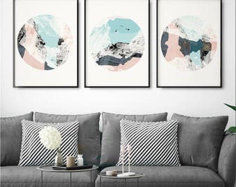 Set of 3 Prints - Abstract Wall Art Prints - Minimalist Prints - Large Wall Art - Pink and Grey Art Prints - Triptych