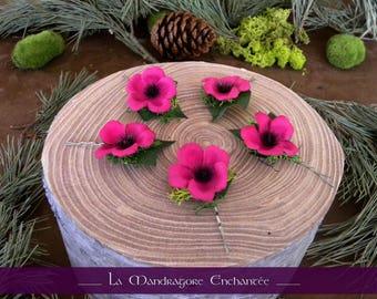 Flat fairy hair clip ~ pink flowers, Ivy, Moss, ~ metal - buns, weddings - nature clip