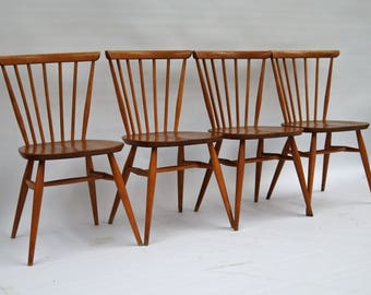Set of 4 Ercol Windsor Bow Top Dining Chairs in Light Finish (449)