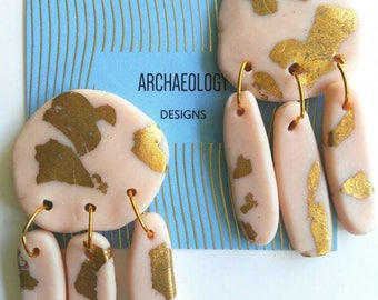 Bronze Age Inspired Statement Earrings - Polymer Clay with Gold Leaf