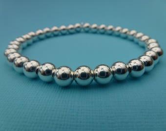 Sterling Silver 925 6mm Round Ball Beaded Stretch Bracelet Stacker Bracelets Roodle Rice Noodle