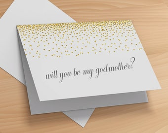 Will You Be My Godmother Card- Godmother Greeting Card- Godmother Proposal Gift- Card for Godmother- Will You By My Godparents Card Propose