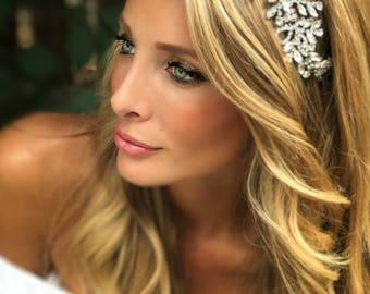 Bridal Hair Accessory, Bridal Hair Jewelry, Silver Bridal Head Band, Rhinestone Hair Jewel, Clip-In Hair Jewelry, Crystal Hair Jewelry