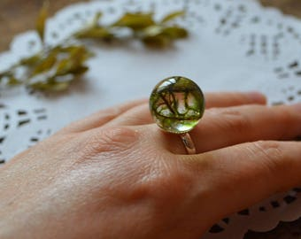 woodland ring resin ring sister gift gift for friend terrarium ring natural jewelry moss ring green ring nature ring woodland jewelry resin