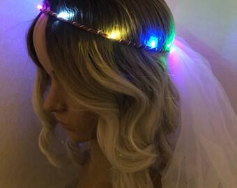 Rainbow Bridal Veil LED Crown, perfect for bachelorette parties, festival weddings, night ceremonies, wedding receptions, bridal gift