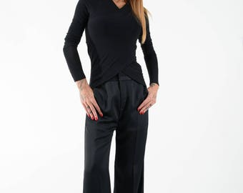 Womens Blouse / Long Sleeve Top / Designer Blouse / Black Shirt /Asymmetric Top/Fitted top