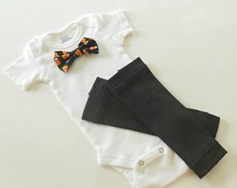 Halloween Bow Tie Baby Onesie Black Leg Warmer Set, Halloween Outfit Baby Boy, Halloween Baby Body suit Boy, Halloween Boys Clothes