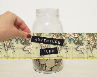 Adventure Fund Digital Label for DIY Money Jar. Piggy Bank for Travel Inspiration, Holidays and Vacation. Coin Jar, Money Bank, Money Box