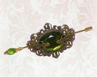 Shawl Pin Green Brooch Victorian Vintage Antique Gold Emerald Style Scarf Pin Hair Slide Edwardian Filigree Stick Pin