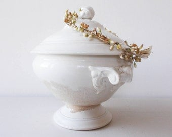 French Antique White Ironstone Soup Tureen Serving Bowl Tea Stained
