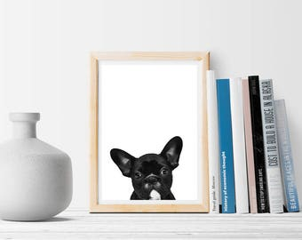 Black Dog Bulldog - Instant download - Art