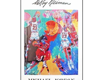 Leroy Neiman Michael Jordan Poster Print 24 x 36 Dated 1991 - Hard-to-Find Out of Print - Ready to Frame