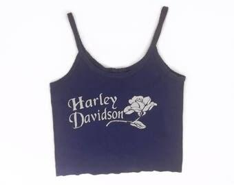 Vintage Harley Davidson White Rose Royal Blue Tank Crop Top