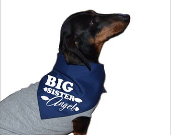 personalized dog bandana, big sister dog bandana, big sister dog shirt, dog baby announcement, dog baby announcement bandana, baby reveal