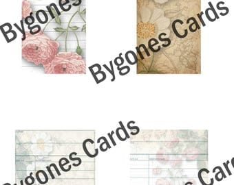 Flowers digital pages and tags with library cards. Instant download.