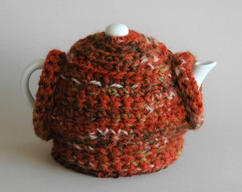2 cup tea cosy with matching trivet / teapot jumper / burnt orange, brown / gift idea