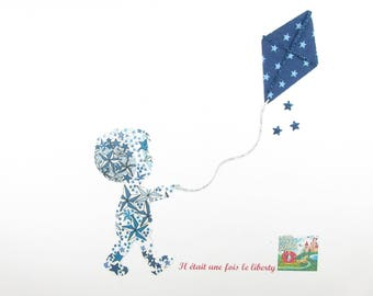 Applied fusing boy & kite fabric Navy blue glitter fabric blue Adelajda patch iron boy applique design