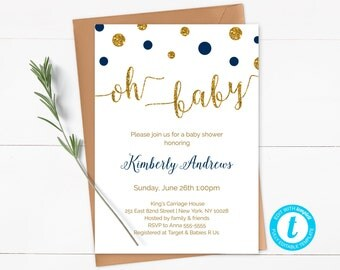 Oh Baby Shower Invitation Template, Navy and Gold Baby Shower Invitation, Boy Baby Shower Invite, Editable, Instant Download - CG3