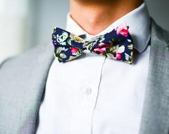Floral Bowtie, Peony Floral Bowtie, Blue and Pink Floral Bowtie, Pre-Tied Bow Tie, Wedding Bowtie