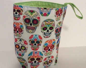 Makeup Artist Trash Bag, Sugar  Skulls, Lime Green
