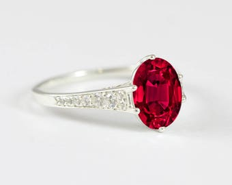 Oval ruby rose/white/yellow gold engagement ring art deco 1920's inspired thin petite band unique ring for her