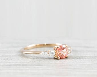 Champagne sapphire etsy champagne rose sapphire engagement ring handmade in rose gold with diamonds marquise 5 stone antique inspired junglespirit Images