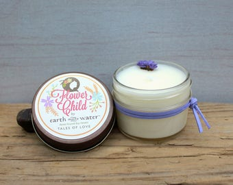 Tales of Love - Flower Child Collection - Mini 4 oz Soy Candle - Boho Decor - Rose - Sandalwood - Wildflowers