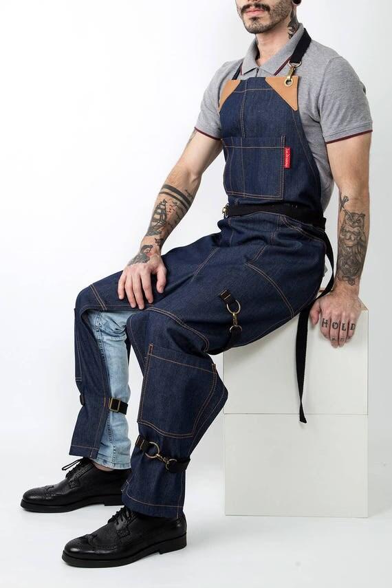 Split leg apron full frontal cover blue denim black
