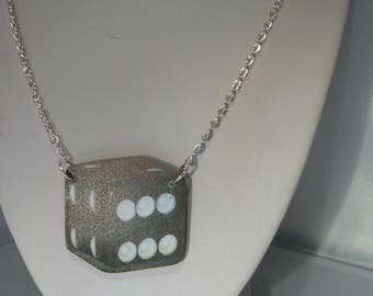 rockabilly punk dice necklace goth emo lucky gaming black