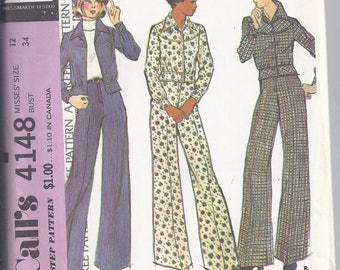 McCalls Pattern # 4148 from 1974.   Misses unlined Jacket and Pants.  Bust 34