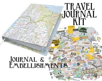 Travel journal kit (Includes hard-back journal covered with map) and over 150 embellishments - great for smash book or scrapbook
