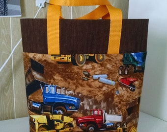 Boys Construction Truck Tote Bag Library Bag Preschool Bag Reusable