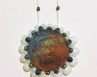 Circular Natural Stone Statement Necklace - Needle Felted Jewelry, Fiber Art, Beaded Bib Necklace with Feshwater Pearls, Glass, and Quartz