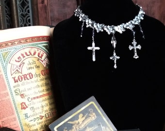 Stunning Rhinestone gothic choker with religious crosses