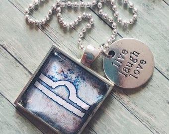 LIBRA glass pendant necklace, Astrology necklace, Libra jewelry, silver astrology necklace