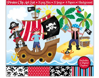 Pirate Clip Art & Digital Papers,Pirate Clipart,Pirates Clipart,Pirate Ship Clipart,Pirate Party,Pirate Birthday,Scrapbooking,Commercial