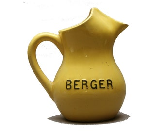 Antique advertising BERGER anisette water jug, Pastis brand, Yellow ceramic pitcher, Vintage 1930s