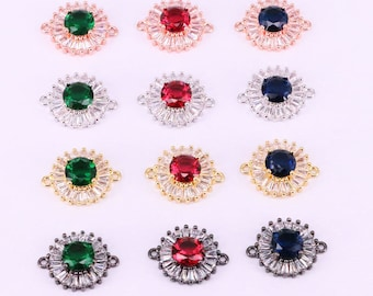 10PCS Round shape micro pave cz crystal  beads Multi-color cubic zirconia connector jewelry for bracelet making