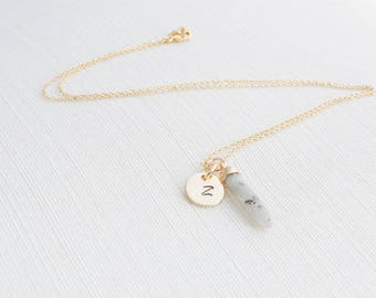 Gold Initial and  Labradorite Necklace, Disc Necklace, Personalised Jewellery, labradorite Necklace , Gift idea